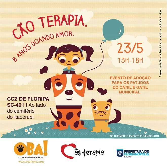 Aniversário de 8 anos da 'Cão Terapia' com evento de adoção de cães e gatos em Florianópolis, SC