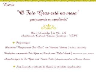 Observatório de Justiça Ecológica debate consumo de foie gras, em Florianópolis, SC