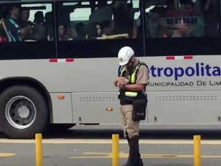 Policial para o trânsito e resgata gatinho no meio da pista, segundos antes de um ônibus passar