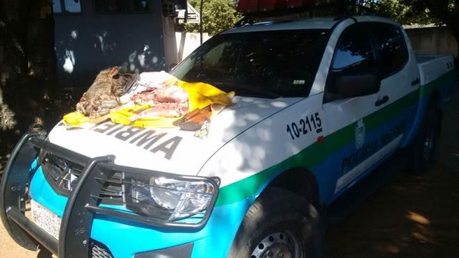 Pedreiro é preso e multado em R$ 500 por abater cateto durante caça