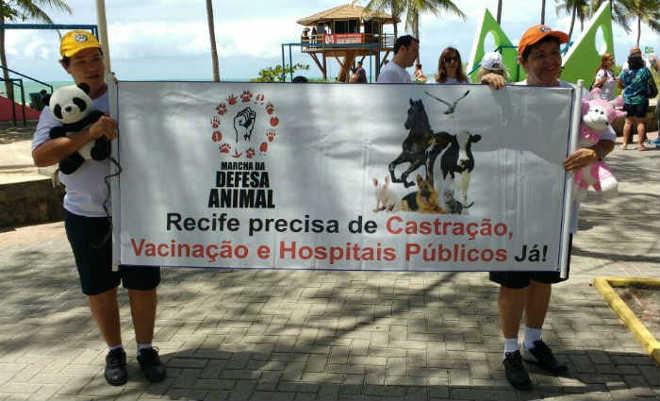Marcha em defesa dos animais é realizada em Boa Viagem, em Recife, PE