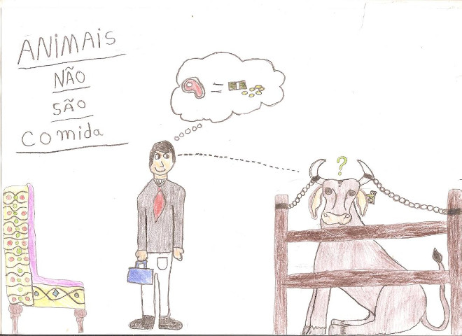 1ª Artevista mostra desenhos selecionados sobre o tema 'Animal não é comida'