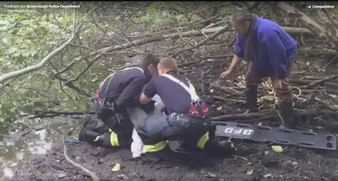Bombeiros salvam cachorro que estava submerso na lama nos EUA