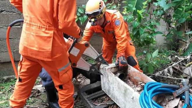 Bombeiros resgatam cão que prendeu a cabeça em filtro em Juiz de Fora, MG