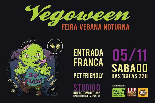 Veganos comemoram dia das bruxas com Feira Vegoween noturna em Porto Alegre, RS