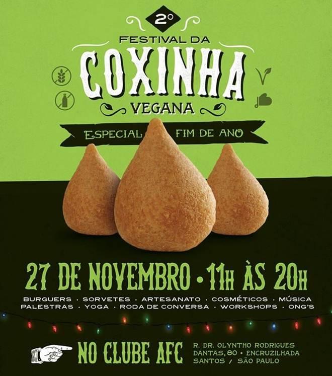 Vem aí o 2º Festival da Coxinha Vegana de Santos