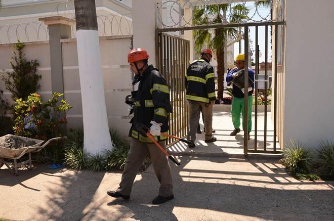 Bombeiros salvam gato que fica preso a cerca de arame em Canoas, RS
