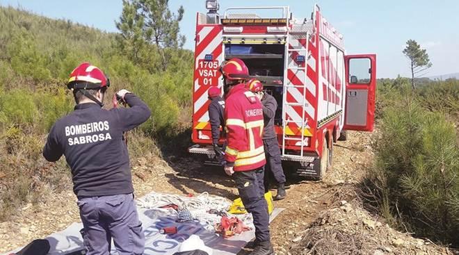 Bombeiros salvam dois cães explorados em caças de poço em Sabrosa, Portugal
