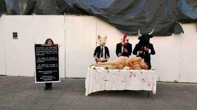 Veganos protestam no México pelo direitos dos animais