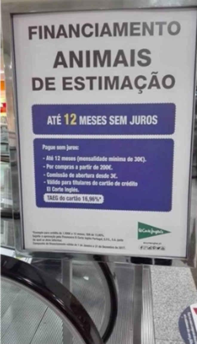 Portugal: Protestos obrigam El Corte Inglés a cancelar venda de animais a crédito