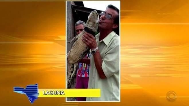 Jacaré é encontrado em quintal e moradores tiram fotos com o animal em Laguna, SC