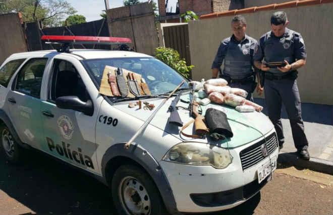 Polícia Ambiental apreende duas armas e carne de animal silvestre em Pederneiras, SP
