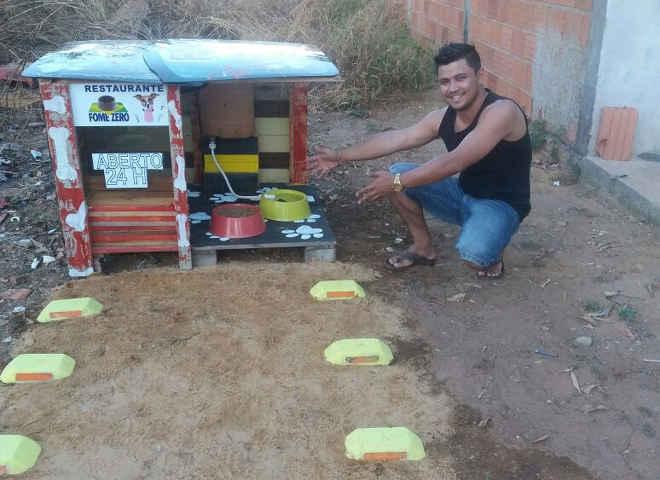 Jovem constrói 'restaurante' para cães de rua: 'A gente tem como pedir, eles não'