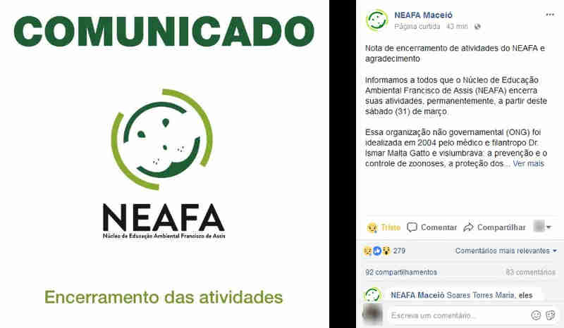 Anúncio do encerramento das atividades do Neafa, em Maceió, pegou internautas de surpresa neste sábado (31) (Foto: Reprodução/Facebook)
