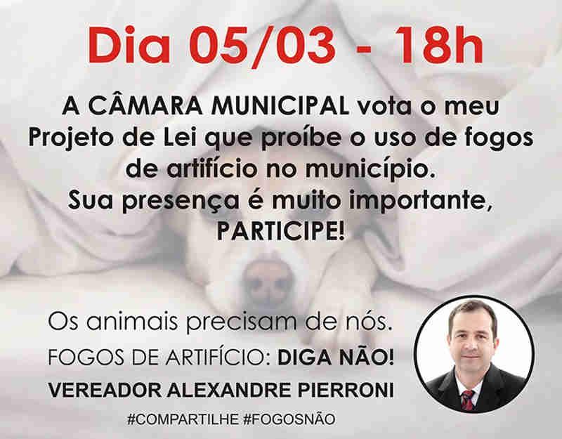 Projeto de Lei que proíbe fogos de artifício será votado nesta segunda-feira em São Roque, SP