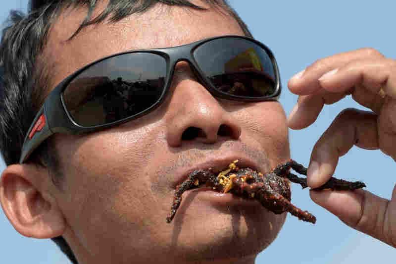 As tarântulas assadas são um prato típico do Camboja e do sudeste asiático. Foto tirada em 14 de março de 2018 no mercado de Skun, no Camboja - AFP