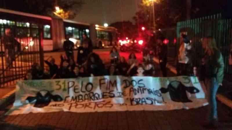 Manifestantes pedem fim do embarque de animais vivos (Foto: Arquivo pessoal/Divulgação)