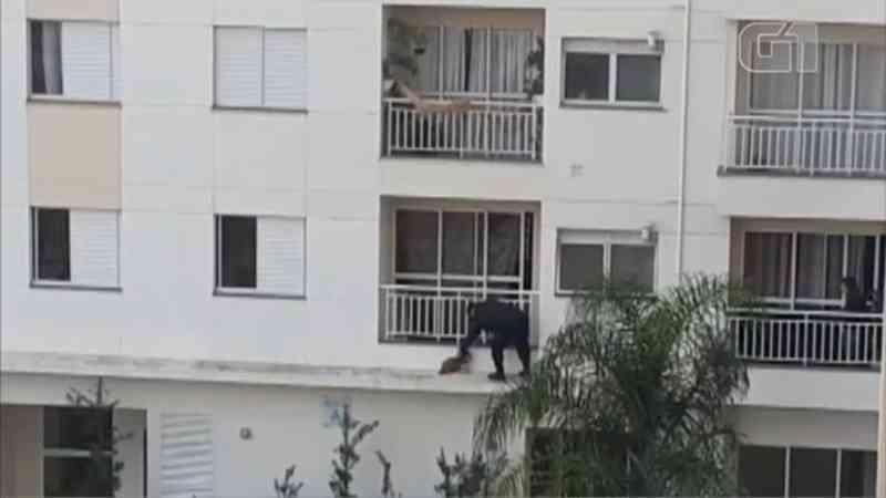 Cão escapa de apartamento pela varanda e é resgatado por segurança de prédio em Sorocaba (Foto: Sandra Fonseca/TV TEM)