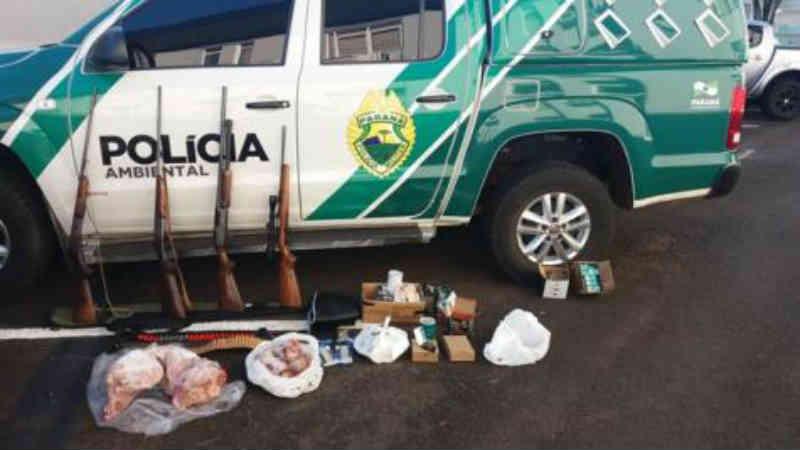 Polícia Ambiental apreende armas, munições e animais silvestres abatidos em Clevelândia, PR