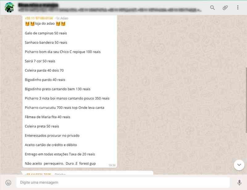 Lista com espécies e valores são divulgadas nos grupos onde o crime é praticado - Reprodução/Internet/The Intercept_ Brasil