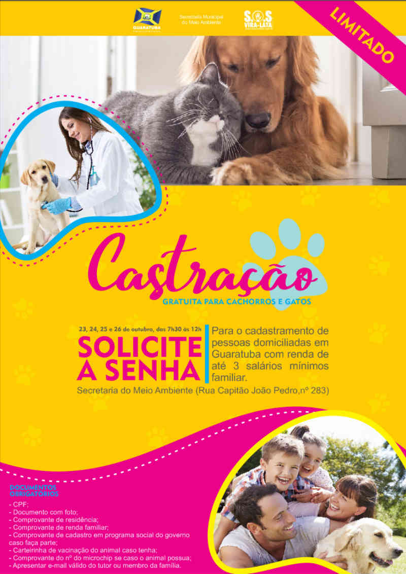 Prefeitura de Guaratuba (PR) distribui senhas para castração de cães e gatos
