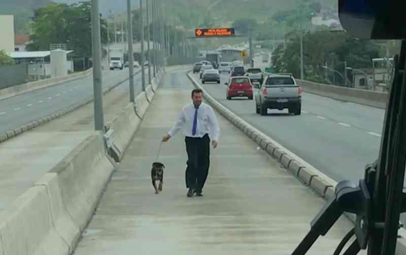 VÍDEO: Motorista de BRT resgata cachorro que estava em pista e o adota, no RJ