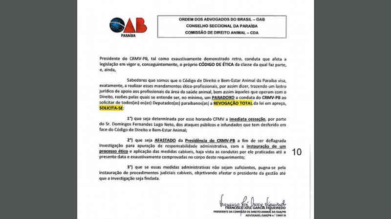 OAB denuncia presidente do CRMV-PB por pedir revogação de lei que defende animais