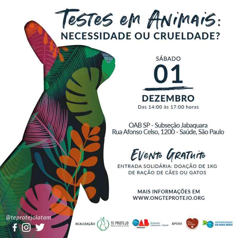 Testes em animais são tema de evento na Subseção Jabaquara da OAB-SP neste sábado