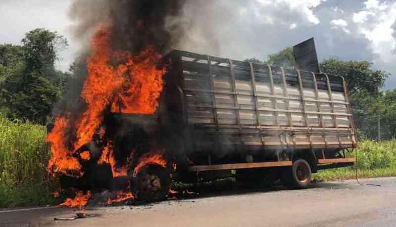 Caminhão boiadeiro pega fogo e motorista solta animais na estrada, em Batayporã, MS