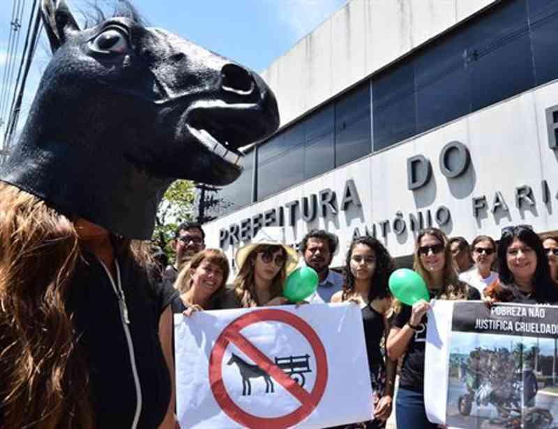 Defensores de animais protestam em favor da regulamentação da Lei de Tração Animal em Recife, PE