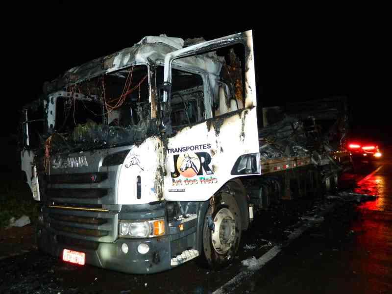 Caminhão que transportava cavalos pega fogo e animal morre, em Flórida Paulista, SP