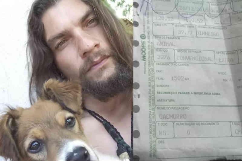 Homem paga passagem de ônibus para cachorro e chama atenção nas redes