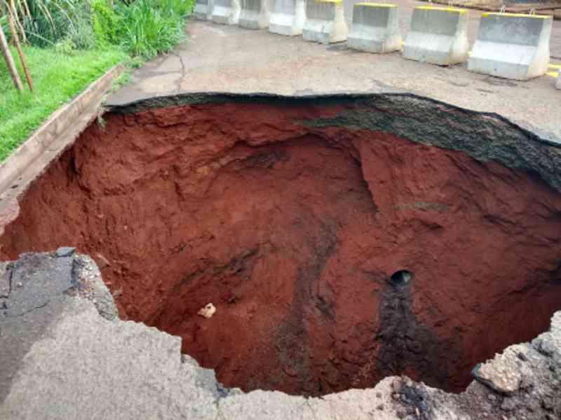 Bombeiros resgatam cachorro de rua que caiu em uma cratera em Londrina, PR