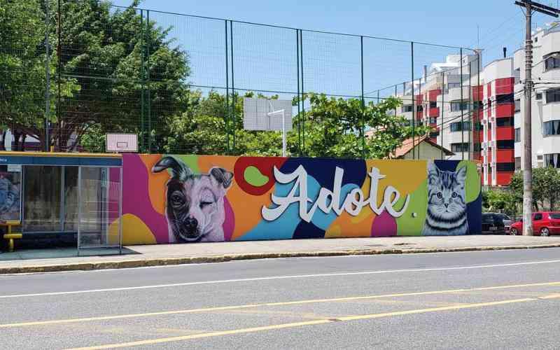 Muro de escola ganha grafite para incentivar a adoção de animais, em Coqueiros, Florianópolis