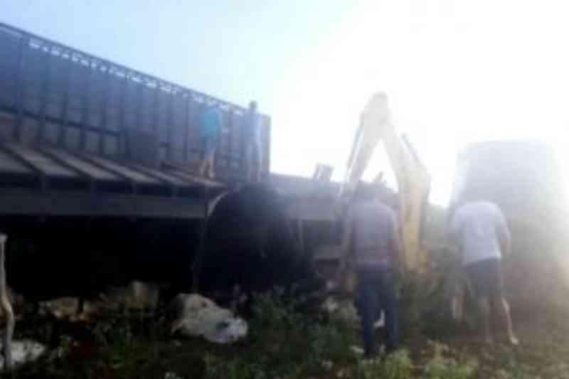 Caminhão boiadeiro tombou na BA-152 em Livramento de Nossa Senhora; alguns animais morreram