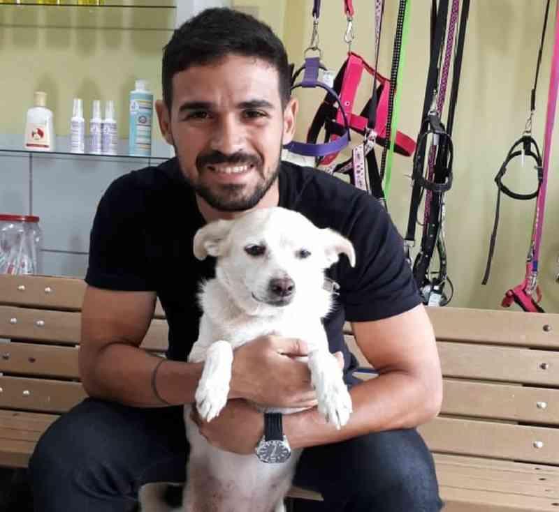 Cadelinha abandonada junto com bilhete em clínica veterinária é adotada no Recife, PE