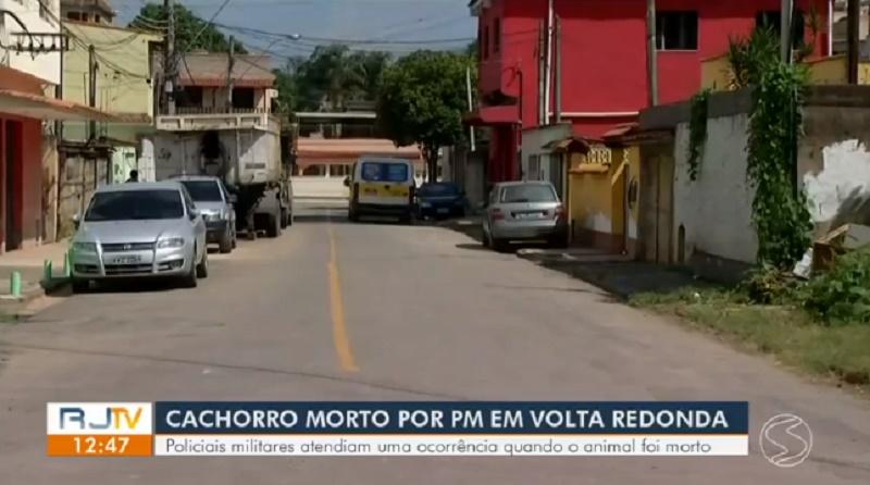 PM mata cachorro durante abordagem, em Volta Redonda, RJ; moradores dizem que latido irritou