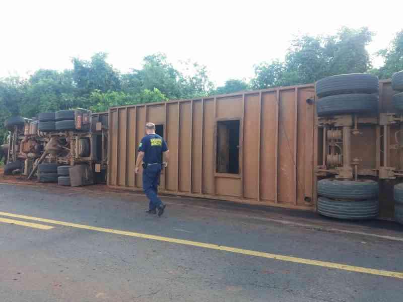 Cinco bois morrem após caminhão tombar na Rodovia Brigadeiro Eduardo Gomes, em Rancharia, SP
