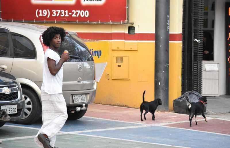 Adriana com seus cachorros pelas ruas de Campinas. (Foto: Fernando Evans/EPTV)
