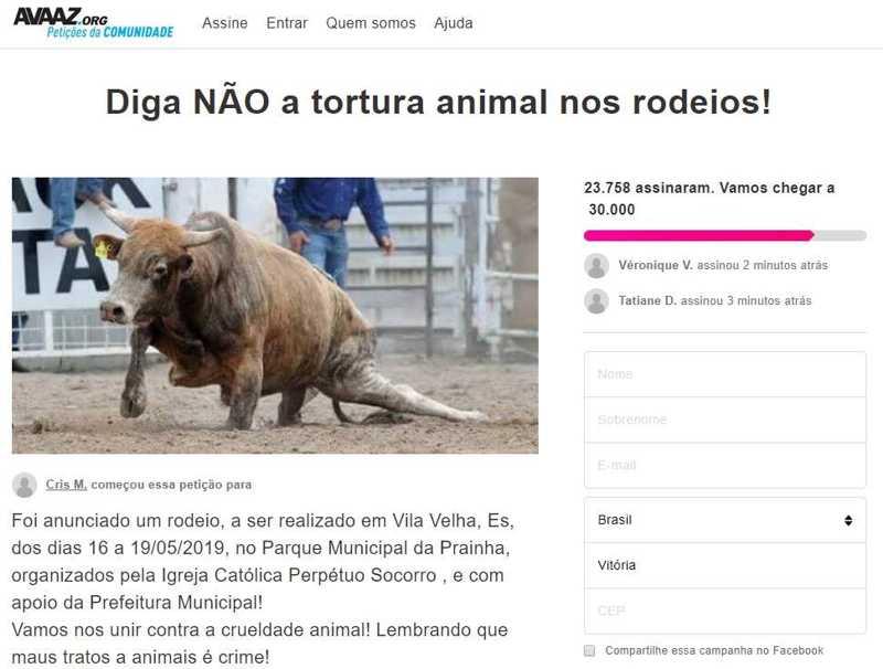 Com mais de 20 mil assinaturas, petição online pede cancelamento de rodeio em Vila Velha, ES