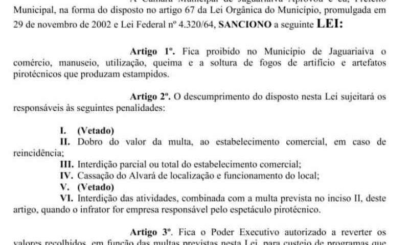 Jaguariaíva (PR) sanciona lei que impede uso de fogos de artifício