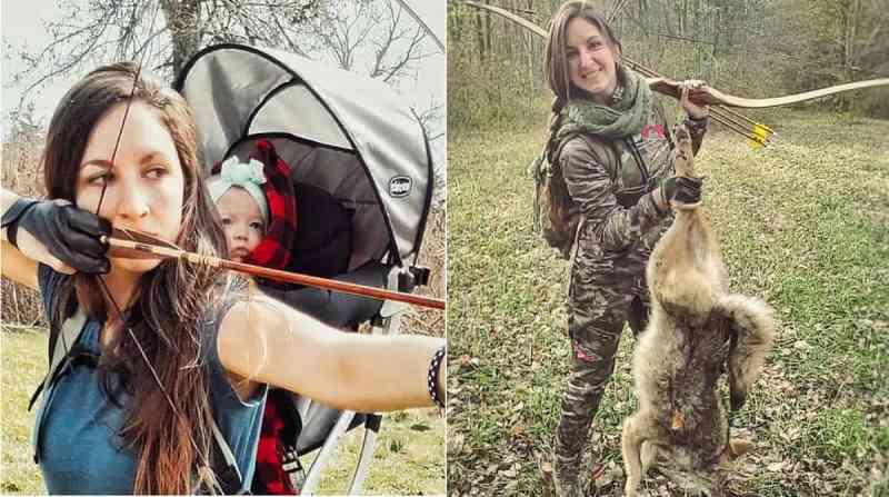 Mãe caça animais selvagens com sua bebê nas costas por diversão