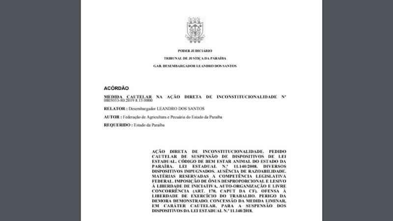 Justiça suspende lei estadual que institui Código de Direito e Bem-estar Animal da Paraíba