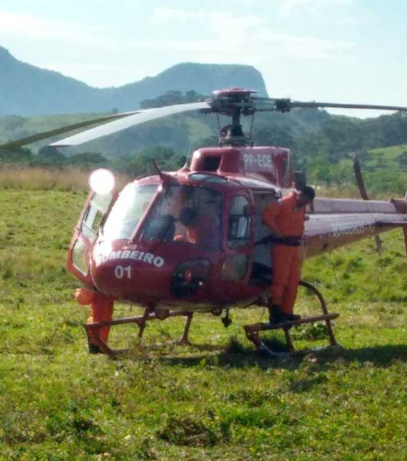 Helicóptero do Corpo de Bombeiros foi usado para resgatar o cachorro em Conceição de Macabu, no RJ — Foto: Élida Braga/Arquivo pessoal