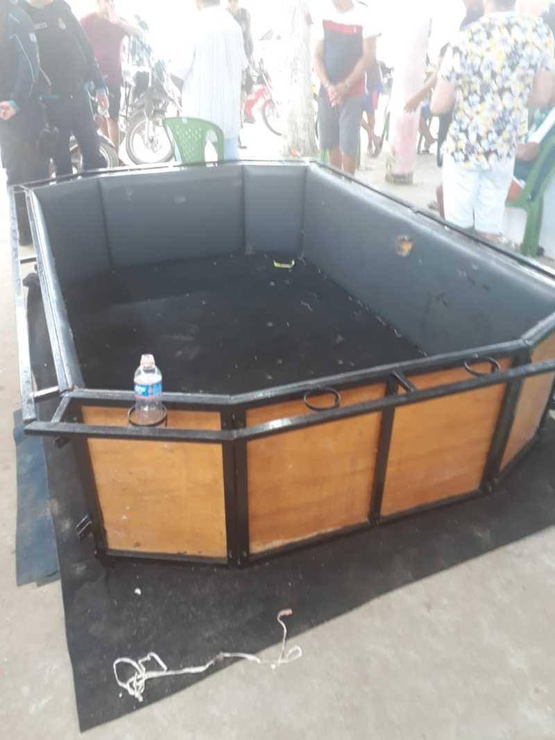 Foi encontrado um tambor móvel usado para a rincha de galos em Pacatuba. — Foto: Divulgação/PM