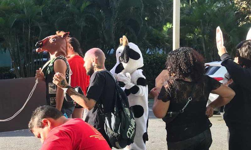 Manifestantes se fantasiaram de animais para protestar contra evento em shopping no Recife — Foto: Thais Toledo/TV Globo