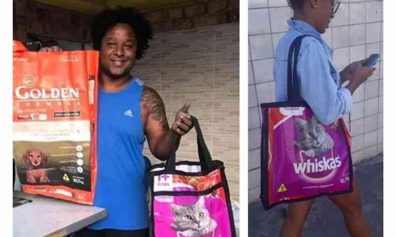 Estudante produz bolsas sustentáveis com sacos de ração e doa renda para a causa animal
