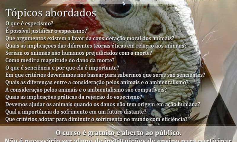 Ética Animal oferece curso gratuito em SC: 'Uma introdução ao debate sobre a consideração moral dos animais não humanos'