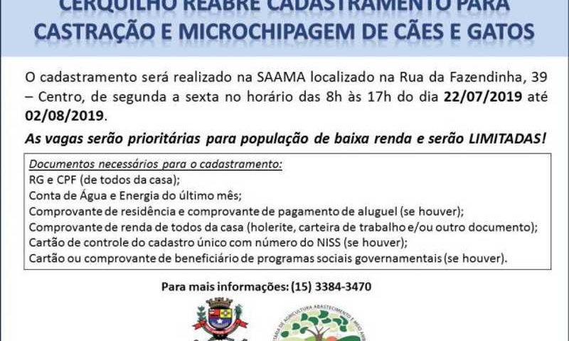 Prefeitura de Cerquilho (SP) castra todos os animais cadastrados e reabre inscrições para vagas remanescentes