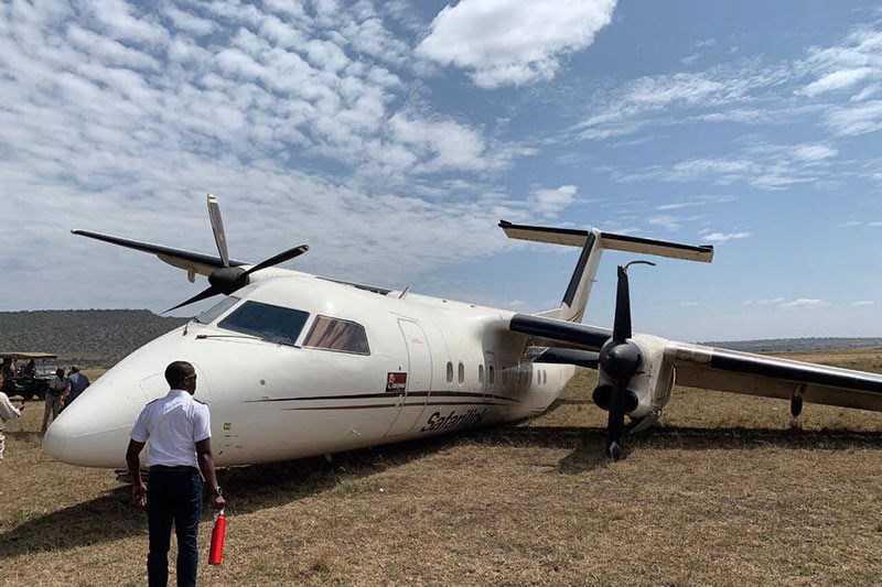 Avião comercial embate em gnus durante aterragem no Quénia. Foto: Twitter